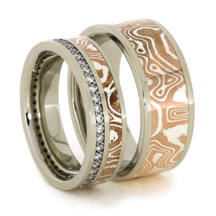 White Gold and Copper Silver Mokume Gane Wedding Bands-1943 - Jewelry by Johan
