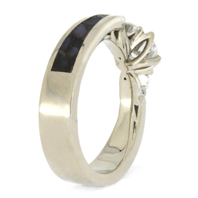 Three Stone White Gold Engagement Ring With Dinosaur Bone-2555 - Jewelry by Johan