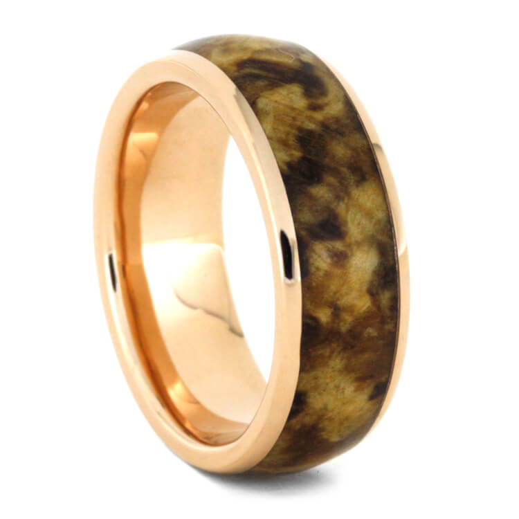 Rose Gold Wedding Band With Black Ash Burl Wood, Size 10-RS9272 - Jewelry by Johan