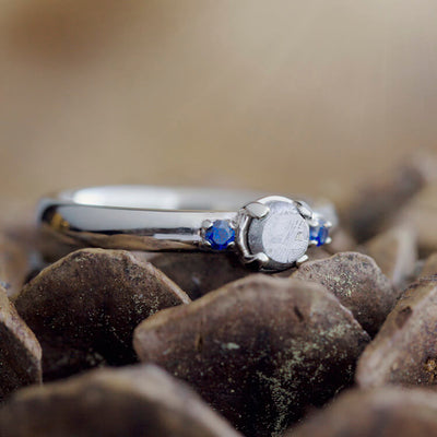 Three Stone Meteorite Engagement Ring, White Gold Ring-2272 - Jewelry by Johan