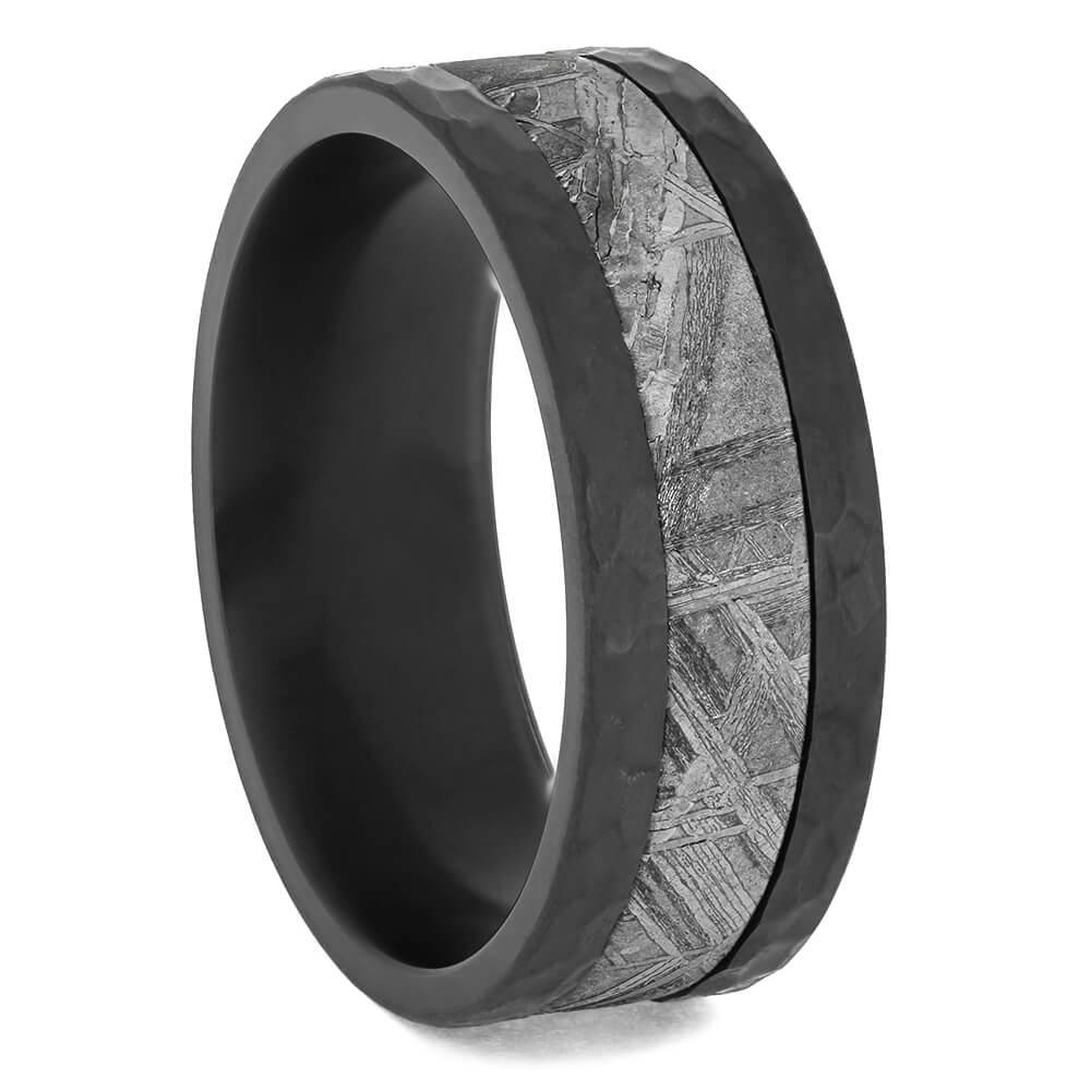 Hammered Black Zirconium with Meteorite Center