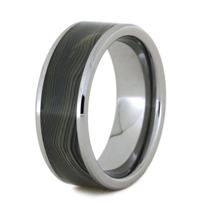 Grey Agate Ring And Tungsten Wedding Band-2818 - Jewelry by Johan