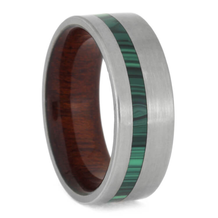 Malachite Ring With Bloodwood Sleeve In Matte Titanium, Size 9.75-RS9067 - Jewelry by Johan