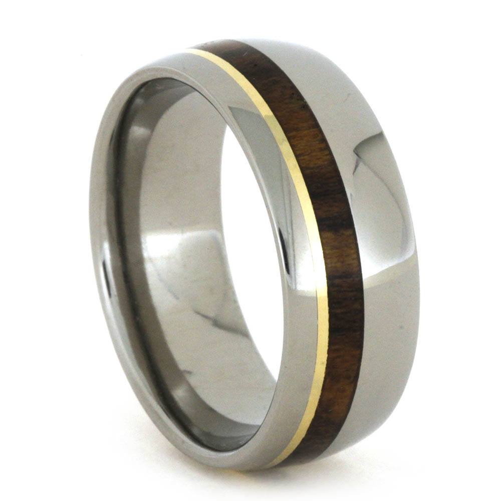 Titanium Men's Band with Ironwood and Yellow Gold Pinstripes, Size 8.75-RS8634 - Jewelry by Johan