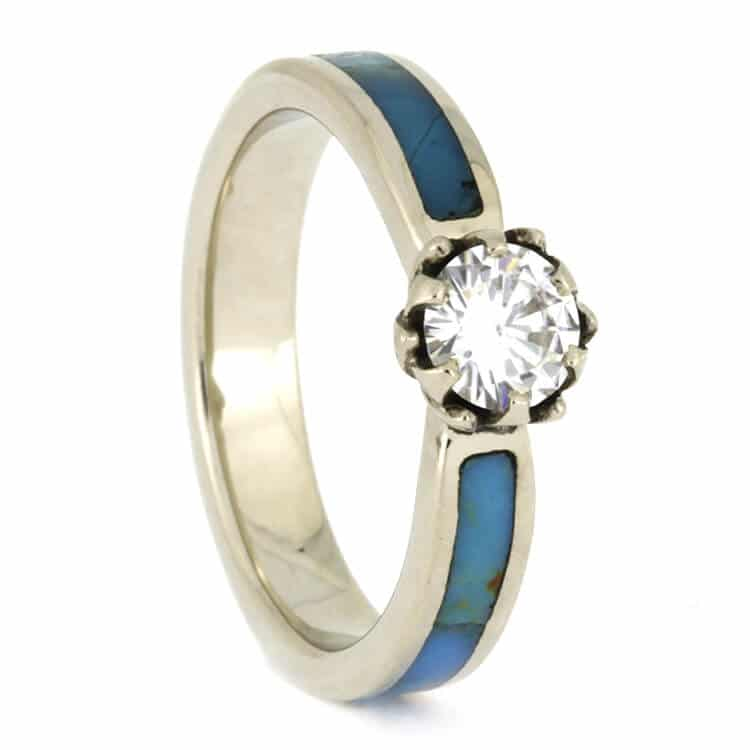 Moissanite Lotus Engagement Ring With Turquoise, Size 5.5-RS10085 - Jewelry by Johan