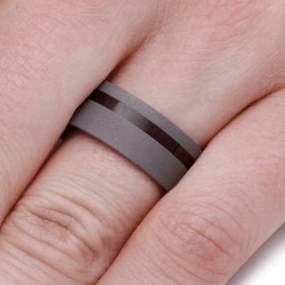 Sandblasted Titanium Wedding Band with Exotic Wood (5)