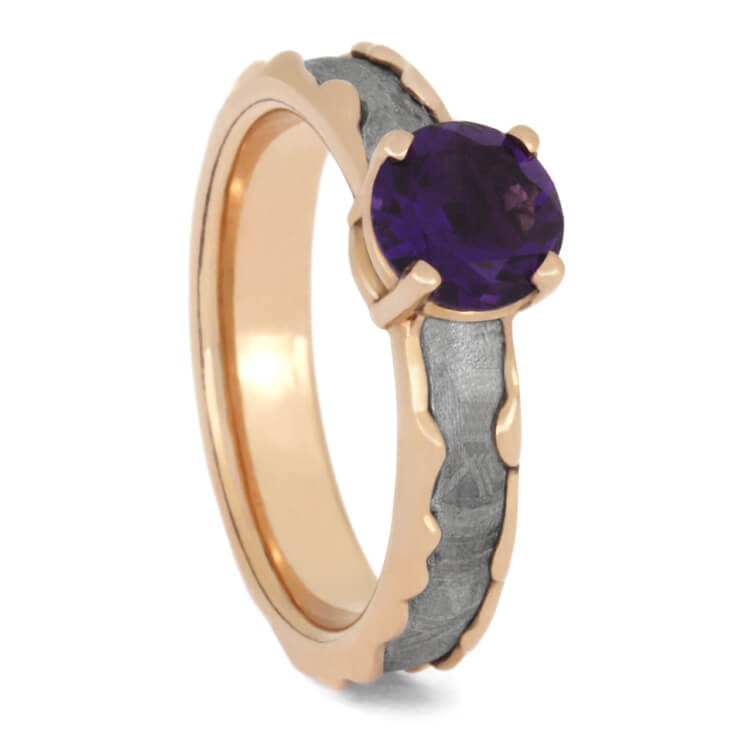 Amethyst Engagement Ring, Wavy Rose Gold Ring With Meteorite Inlay