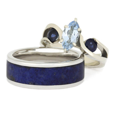 Blue Wedding Ring Set, Aquamarine Engagement Ring With Men's Lapis Band-2523 - Jewelry by Johan