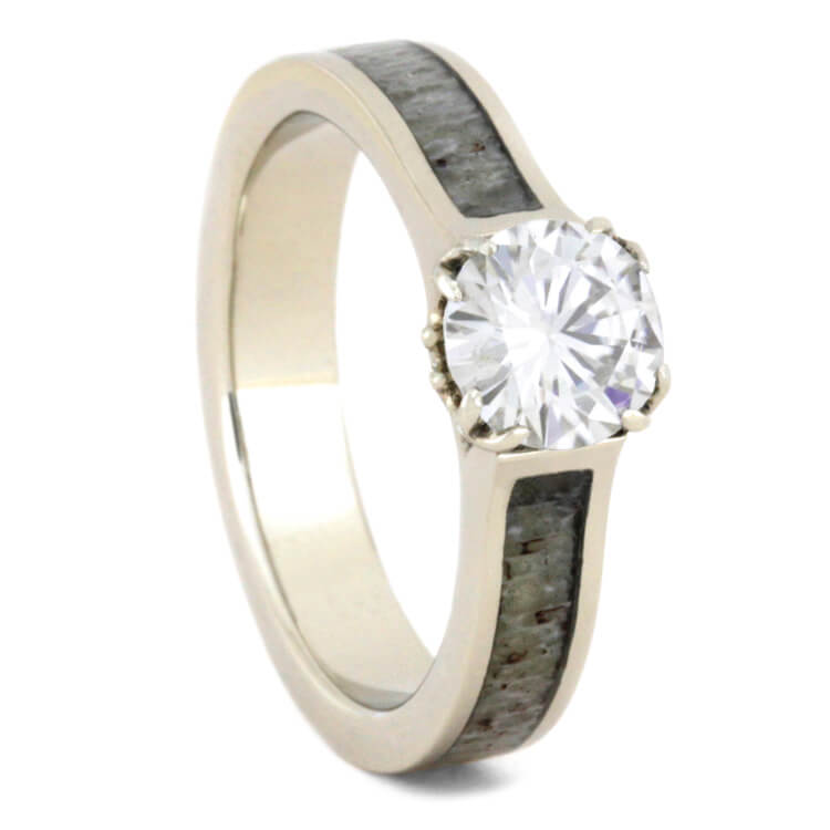 Moissanite Engagement Ring With Deer Antler In White Gold