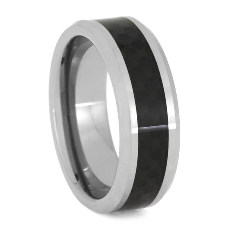 Tungsten Band With Black Carbon Fiber Inlay, Size 10-RS9833 - Jewelry by Johan