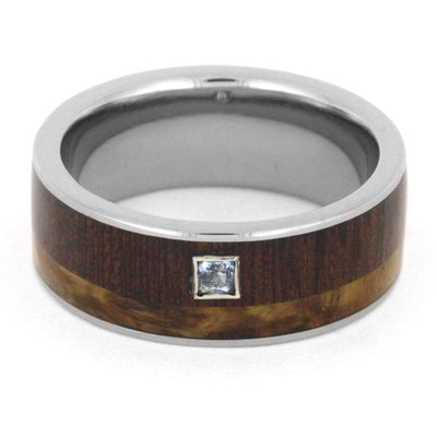 Wood Wedding Band with Aquamarine Stone, Dalmata Wood and Black Ash Burl-3219 - Jewelry by Johan