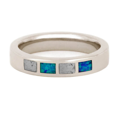 Opal Wedding Band with Partial Gibeon Meteorite, 14k White Gold Ring
