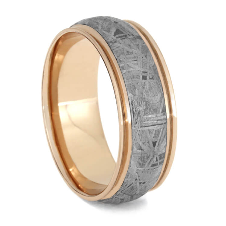 Unique Men's Wedding Band With Meteorite in Rose Gold With Grooved Edges
