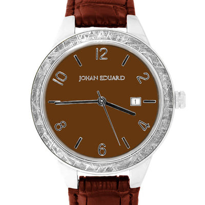 Meteorite Watch In Polished Metal, Sienna Brown Alligator Grain Leather Strap Wristwatch-JE1002-4