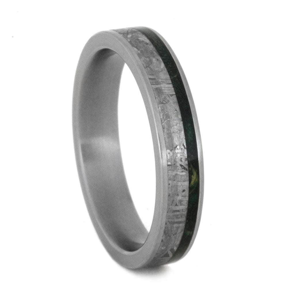 Meteorite Wedding Band With Green Box Elder Burl Pinstripe-3131 - Jewelry by Johan