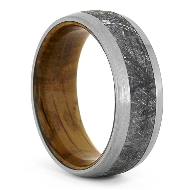 Meteorite Wedding Band With Whiskey Barrel Wood Sleeve Rs9563