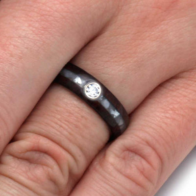 Diamond Mother of Pearl Wood Engagement Ring