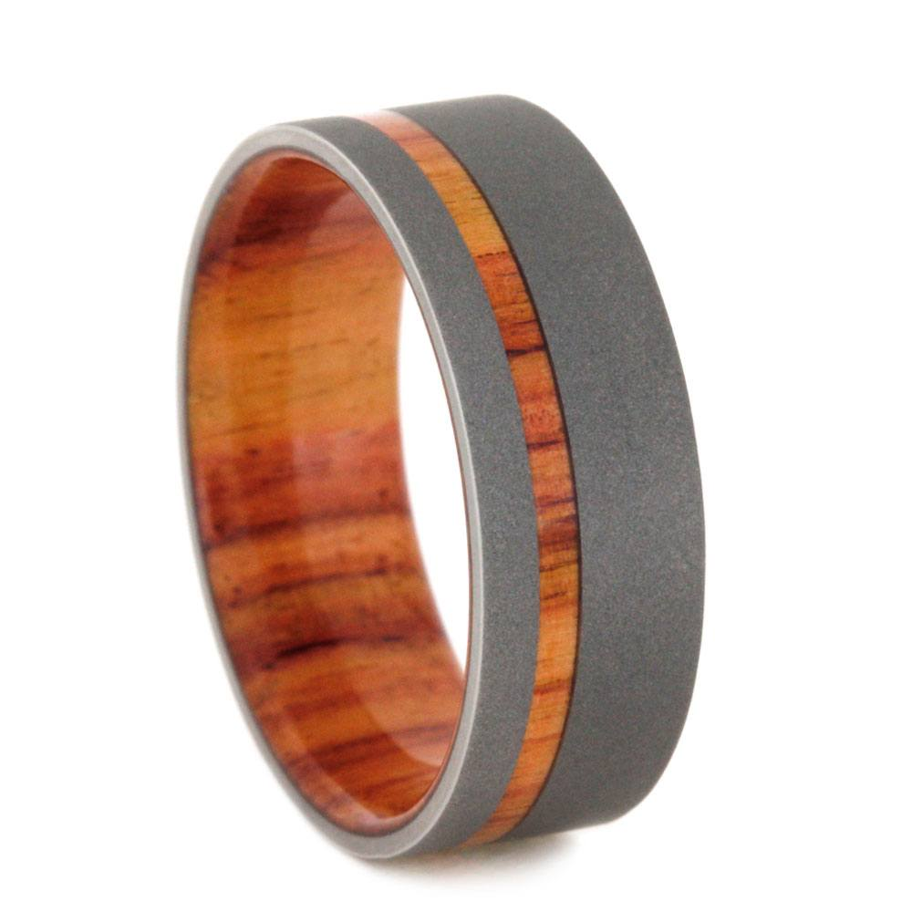 Plus Size Exotic Tulipwood Ring With Sandblasted Titanium-2796X - Jewelry by Johan