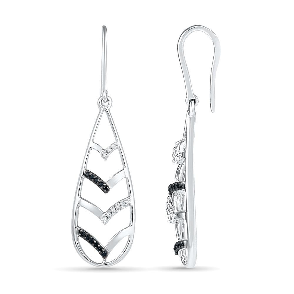 Black And White Teardrop Diamond Earrings In Sterling Silver