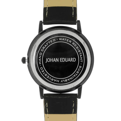 Buckeye Burl Wood Watch, Matte Black Metal Watch With Black Leather Strap-JE1003-5