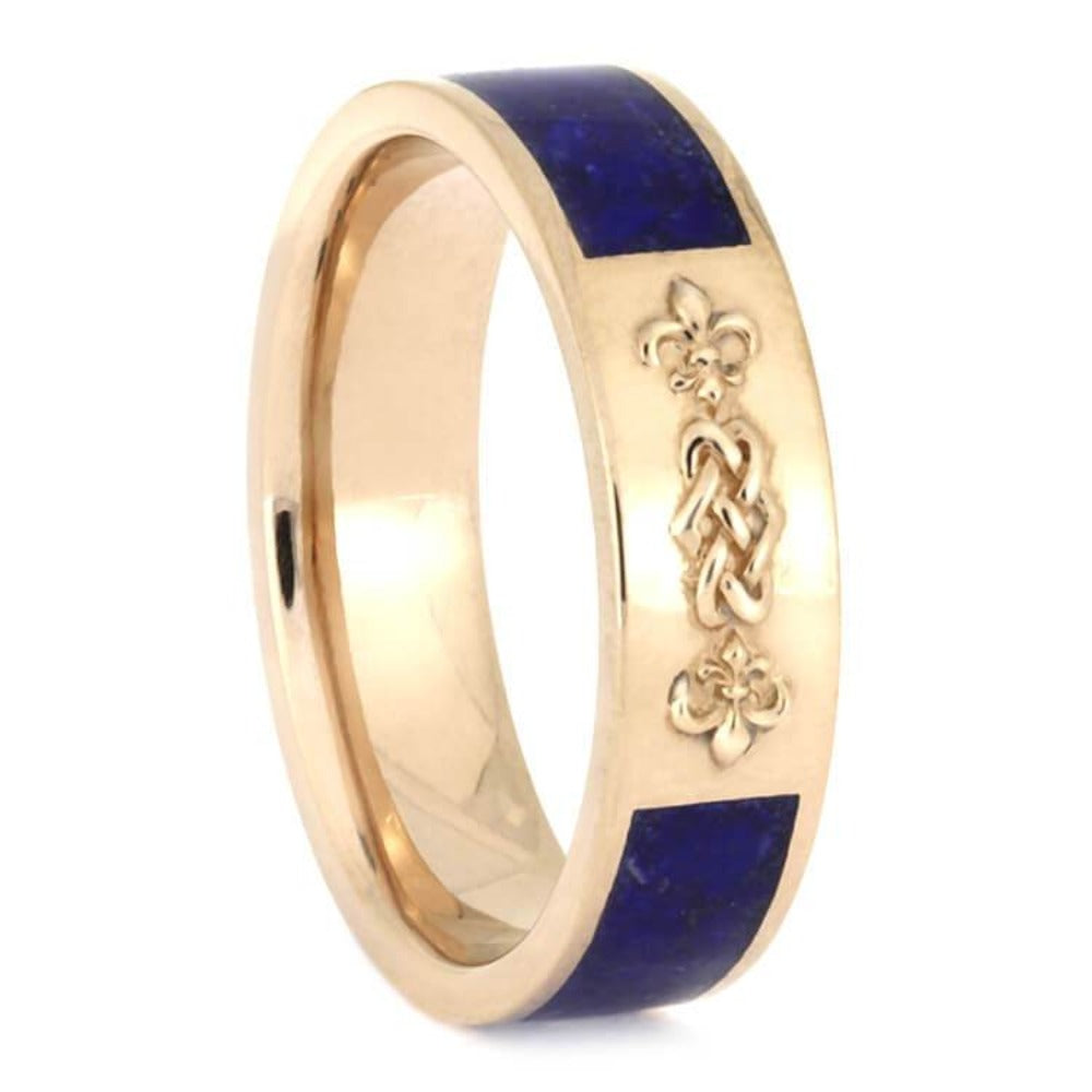 Celtic Knot Wedding Band, Lapis Lazuli Ring With Rose Gold-2641 - Jewelry by Johan