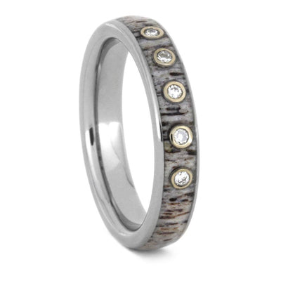 Titanium Antler Wedding Band With Moissanites