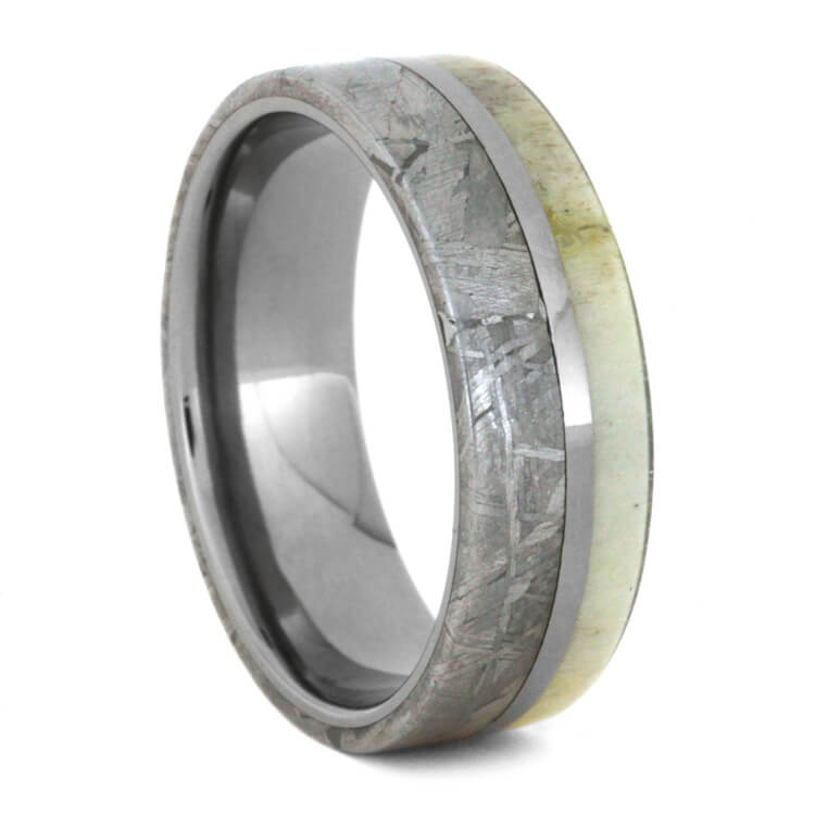 Deer Antler And Meteorite Men's Wedding Band, Size 9-RS8668 - Jewelry by Johan
