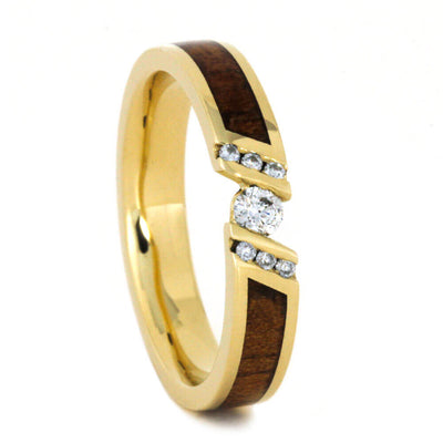 Unique Diamond Engagement Ring With Koa Wood, Yellow Gold Ring-3595 - Jewelry by Johan