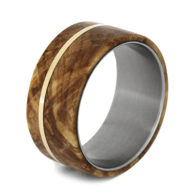 Titanium Wedding Band inlaid with Black Ash Burl and 14k Gold-1154 - Jewelry by Johan