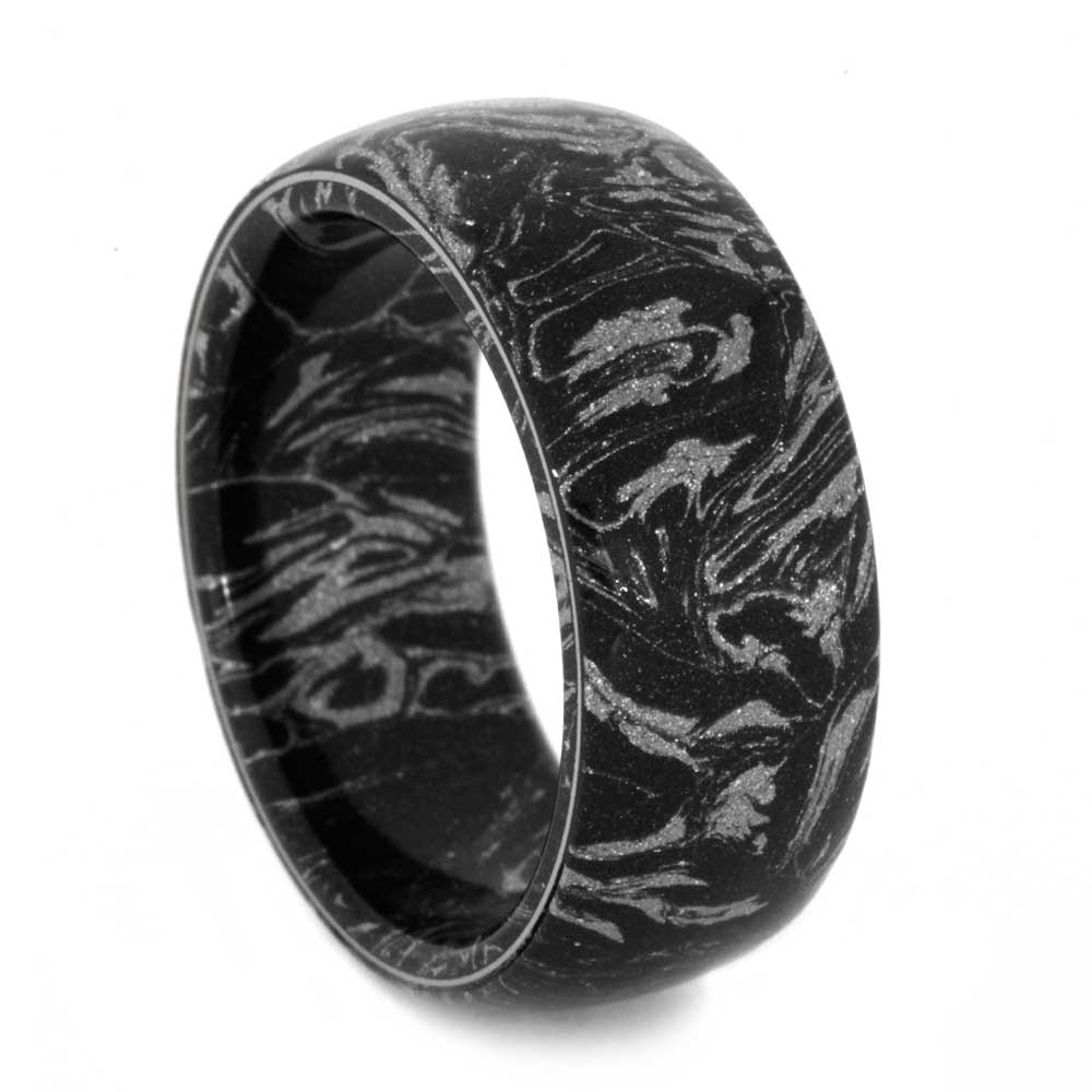 Mens Wedding Band Black-and-White-Mokume-Titanium-Bump(1)