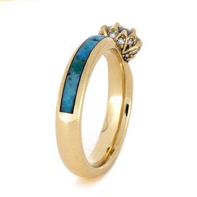 Turquoise Wedding Ring Set Moissanite Ring With Wood Band