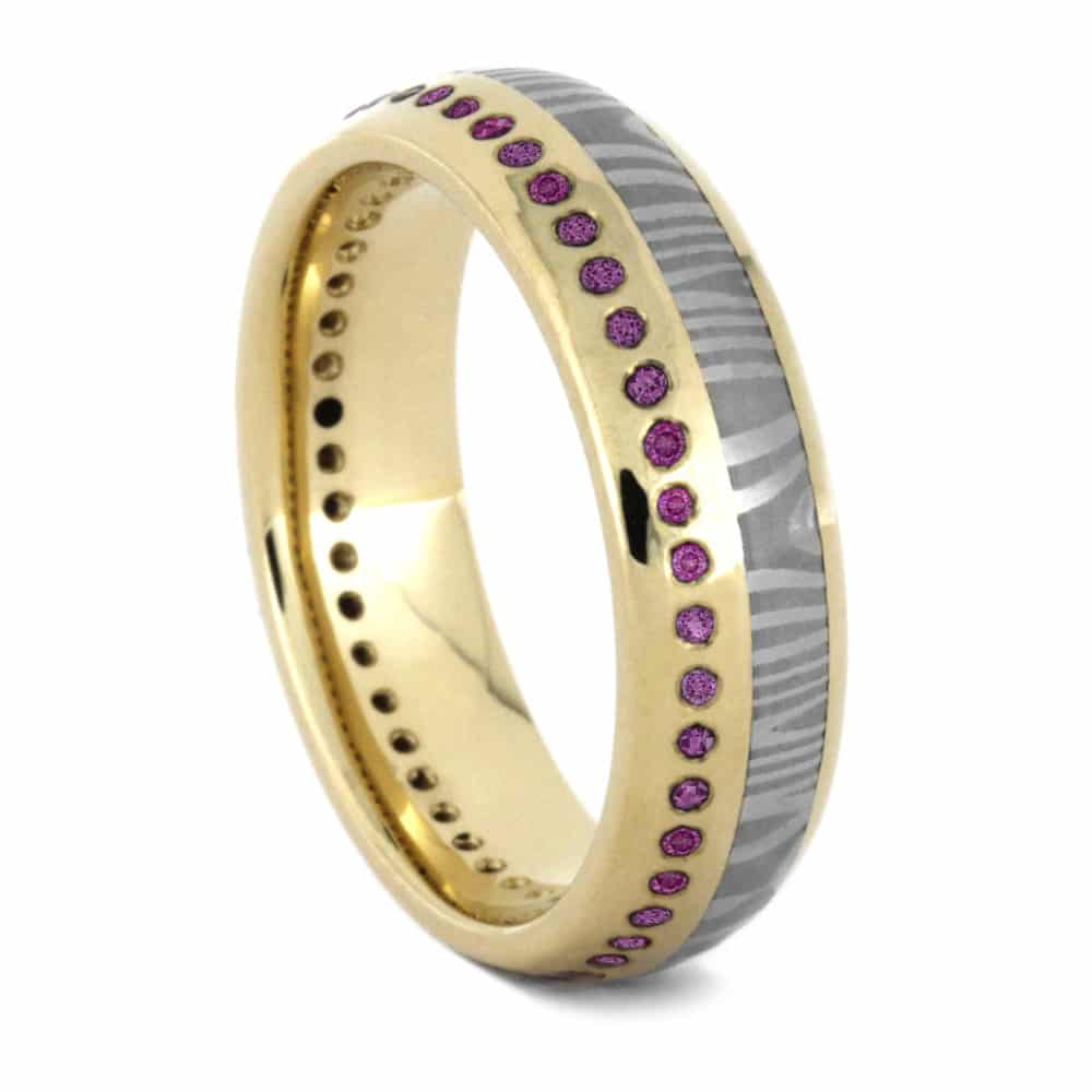 Pink Sapphire Eternity Wedding Band, Damascus Ring in 14k Yellow Gold-3533