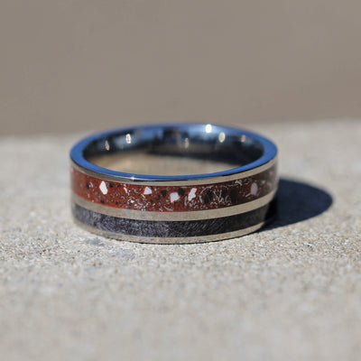 Black and red Wedding ring