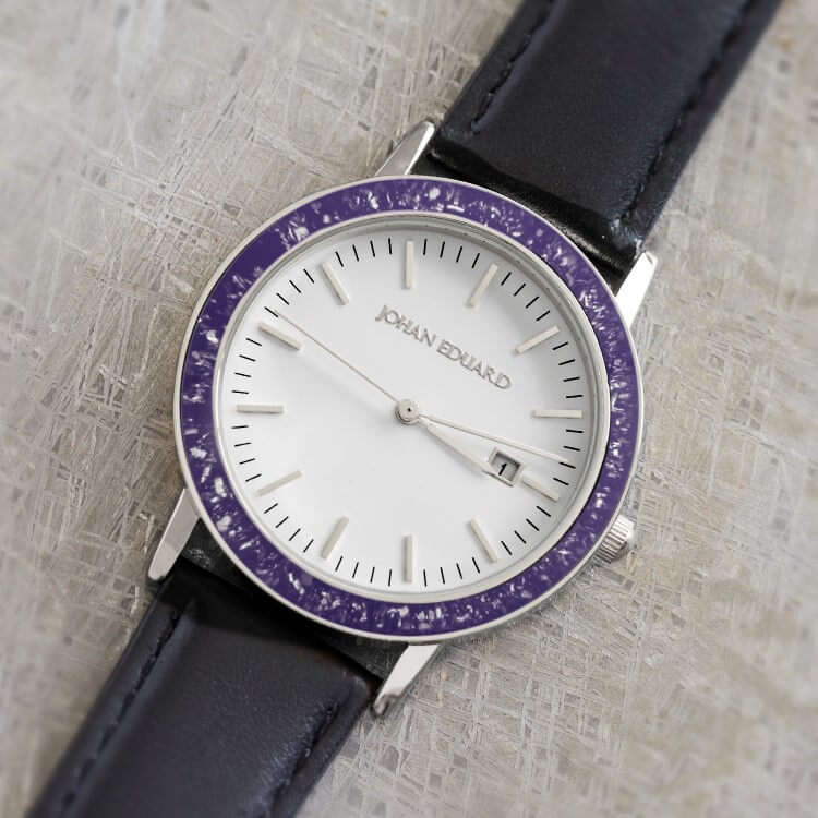 Purple Stardust Wristwatch With Black Leather Strap In Stainless Steel