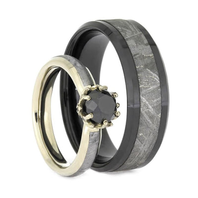 Black Diamond Meteorite Wedding Ring Set, Lotus Engagement Ring With Black Ceramic Wedding Band-2504 - Jewelry by Johan