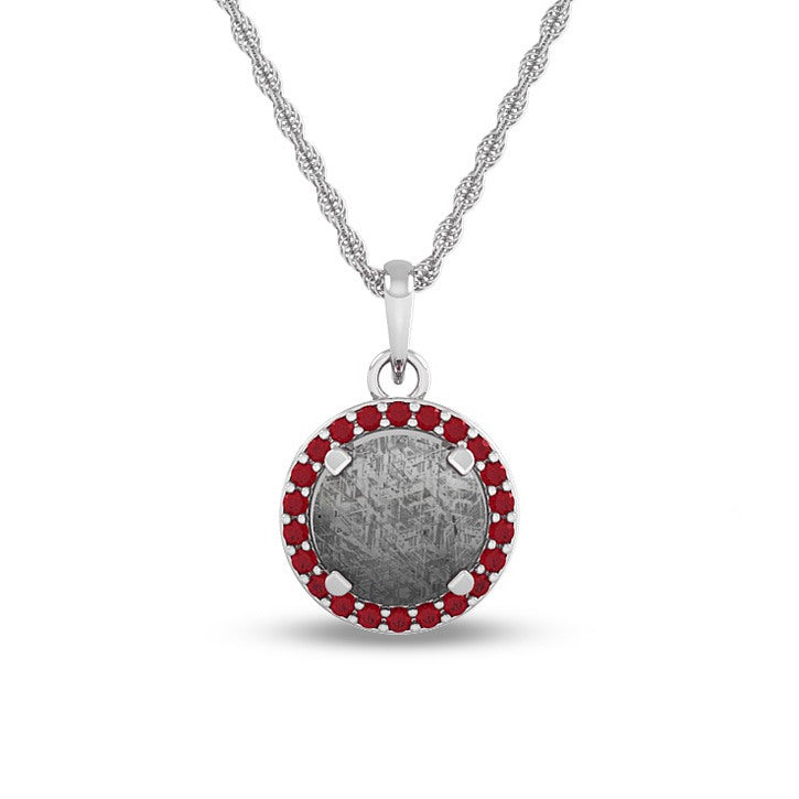 July Birthstone Pendant With Meteorite And Ruby On 14k White Gold Necklace-1683 - Jewelry by Johan