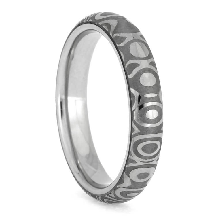 Narrow Steel Wedding Band, Damascus Ring Made With Stainless Steel-2613 - Jewelry by Johan