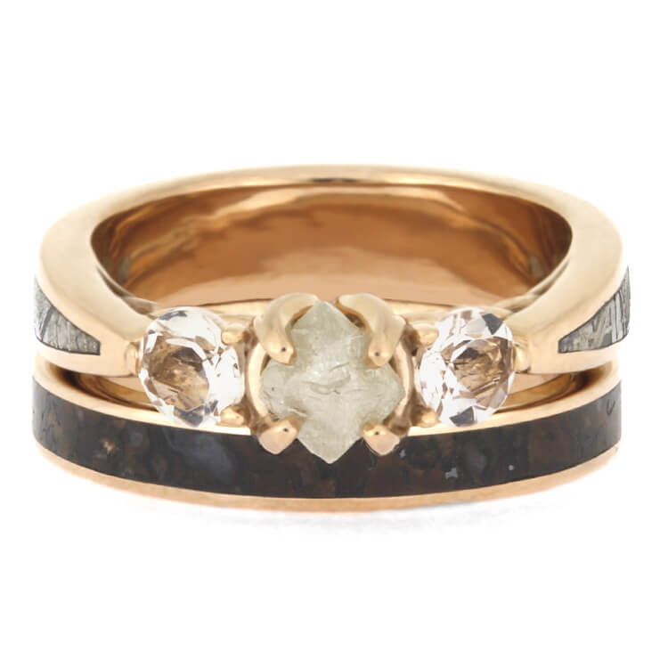 Rose Gold Ring Set Three Stone Meteorite Engagement Ring And Band