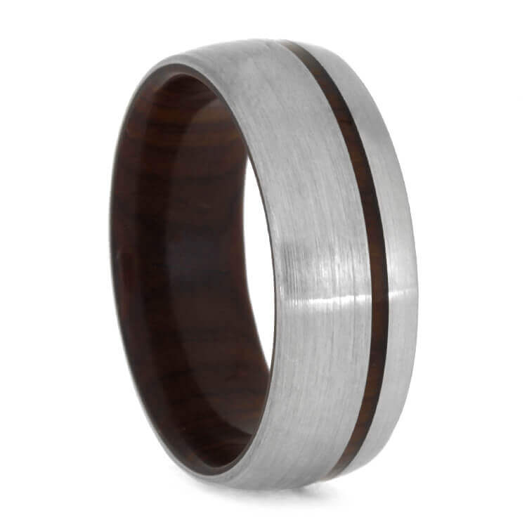 Cocobolo Sleeved Ring With Brushed Titanium