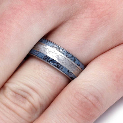 Blue Meteorite Ring With Tungsten