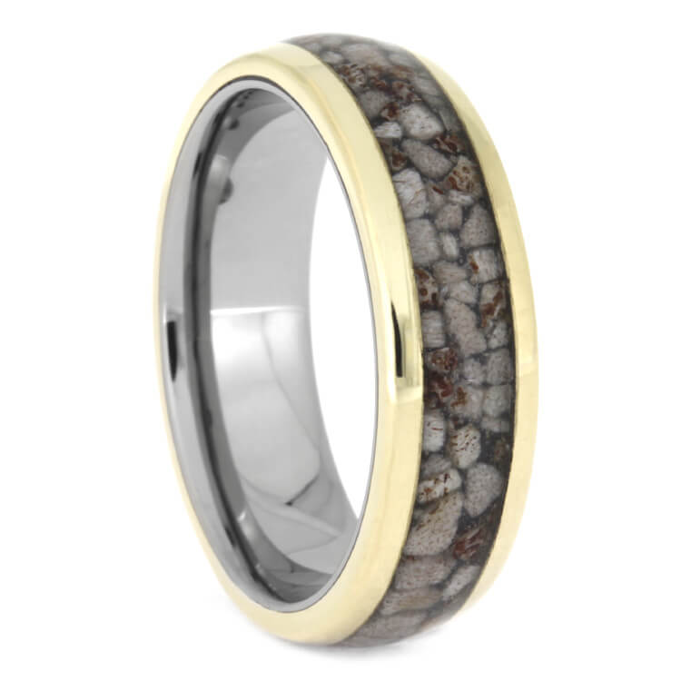 Crushed Deer Antler Wedding Band With Yellow Gold Stripes