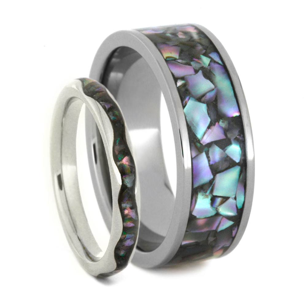 Abalone Wedding Band Set In White Gold and Titanium, Matching Ring Set-3412 - Jewelry by Johan