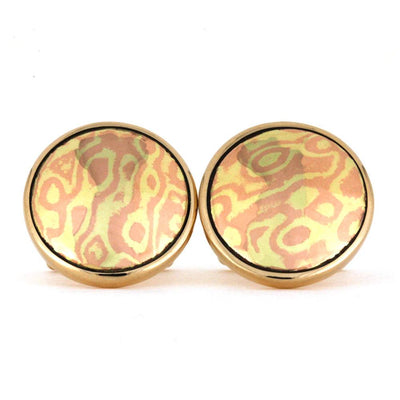 Bronze Cuff Links With Mokume Gane Inlay-RS9294
