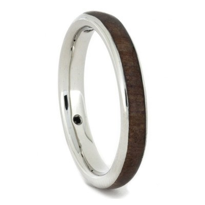 Womens Wedding Band Diamond 10k White Gold Ring with Wood and Meteorite-1723 - Jewelry by Johan