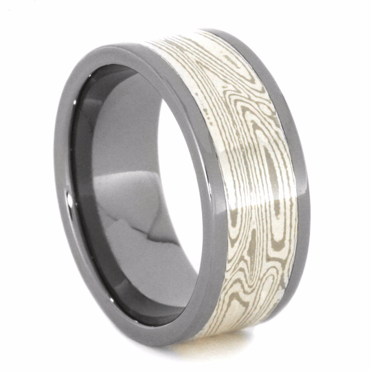 Mokume Gane Wedding Band With Precious Metals-2117 - Jewelry by Johan