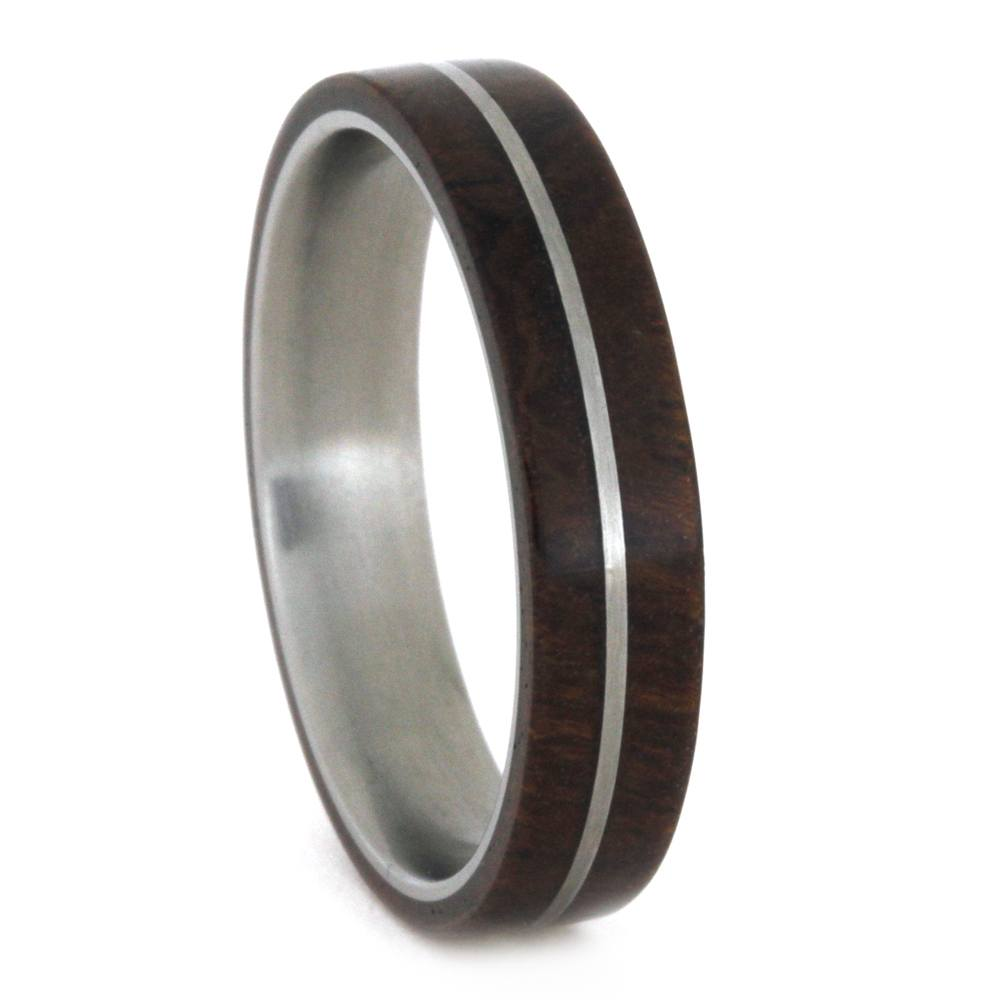 Wood Wedding Band, Titanium Pinstripe on Ironwood Ring-3263 - Jewelry by Johan