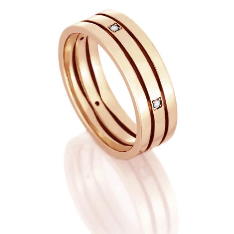 Men's Diamond Wedding Band, Rose Gold Ring-DJ1002RG - Jewelry by Johan