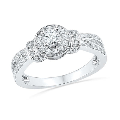 Round Diamond Engagement Ring, Sterling Silver-SHRE028462-SS - Jewelry by Johan