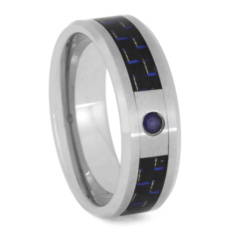 Blue Diamond Wedding Ring With Carbon Fiber In Tungsten