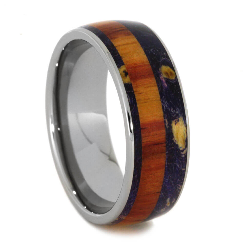 Wood Wedding Band With Purple Box Elder And Tulipwood-2525 - Jewelry by Johan